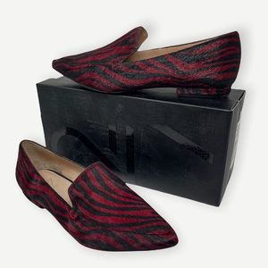 27 EDIT red & black zebra calf hair loafers, 8.5